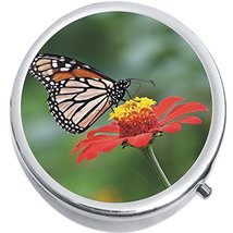 Orange Butterfly Flower Medicine Vitamin Compact Pill Box - $9.78