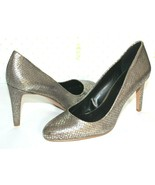 ❤️NINE WEST Handjive Pewter Snakeskin-Embossed Leather Pumps 8.5 US M NE... - $33.24