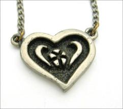 PEWTER HEART with Flower  NECKLACE Vintage Signed SIR-R Valentine LOVE J... - $14.99