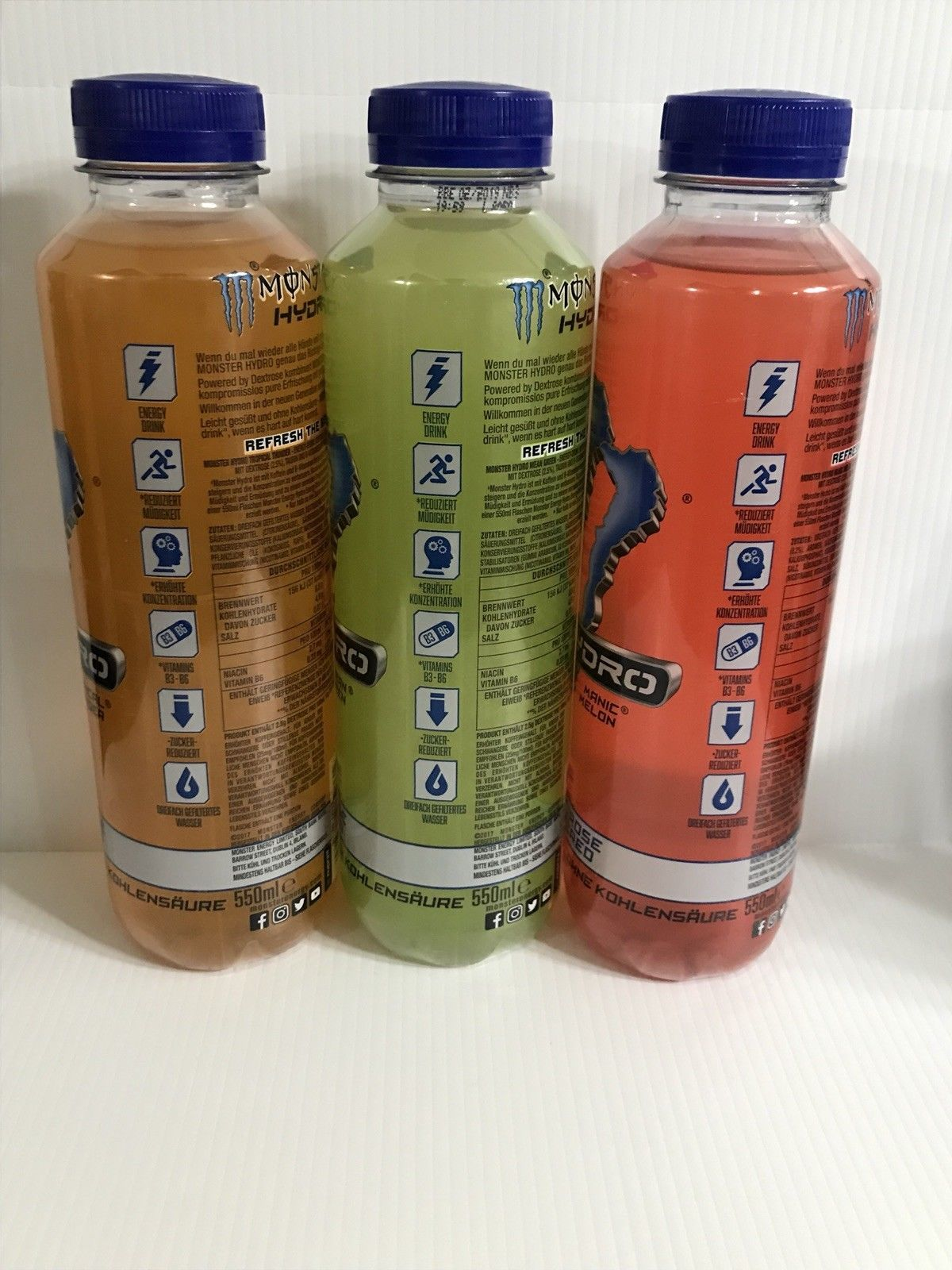 Monster Energy Drink Hydro 550ml Bottles From Germany. One Of Each Kind Pictured