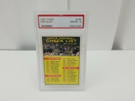 1961 Topps Football Checklist Card #198 PSA 8 FREE SHIPPING - $58.62