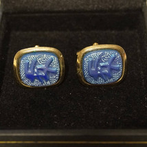 Vintage 40s Blue AB Carnival Glass Asian Symbol Cufflinks Cuff Links - $65.00