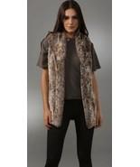 alice + olivia L Shawl Collar Faux Fur Vest Pockets Long Silk Lining Lig... - $148.50