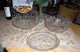 Mikasa Holiday Christmas Bells Glass Footed Cake Stand Bowl & Plate 3pc Set - $31.66