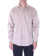 15 L NWT Joseph Abboud Solid Beige Fine Line Button Down Dress Shirt CH9... - $64.35