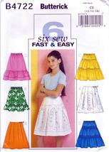 Butterick B4722 Girls Skirts Sewing Pattern Childrens Sizes 12-14-16 Kid... - $7.95