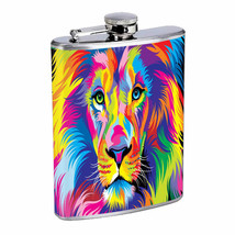 Colorful Animal Lion Em1 Flask 8oz Stainless Steel Hip Drinking Whiskey - €12,01 EUR
