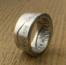Authentic 90% Silver Coin Ring USA Half Dollar Benjamin Franklin, Made T... - $47.50