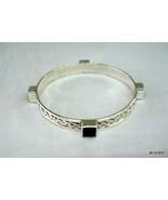 Vintage sterling silver bracelet bangle cuff  gemstone bracelet bangle h... - $138.60
