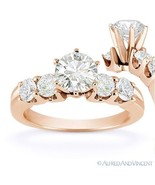 Forever ONE D-E-F Round Cut Moissanite 5-Stone Engagement Ring in 14k Ro... - €922,09 EUR+