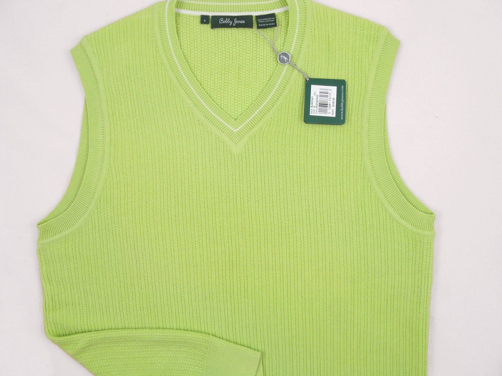 NEW! NWT! $135 Bobby Jones Collection Colorful Vest! 100% Peruvian Pima Cotton image 4