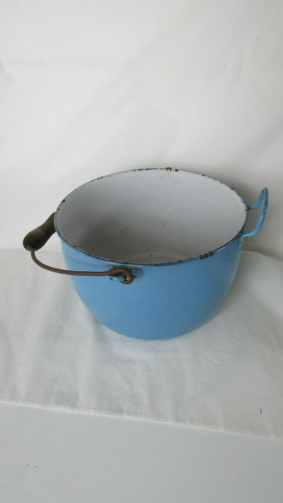 Vintage Enamel  Pail Bucket Blue and White Enamelware With Wooden Handle image 4