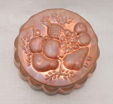 Vintage Extra Heavy Aluminum / Copper Jello Mold, Round w/ Fruit Scene - $17.81