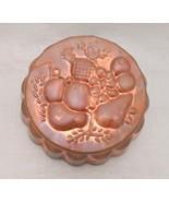 Vintage Extra Heavy Aluminum / Copper Jello Mold, Round w/ Fruit Scene - $17.81