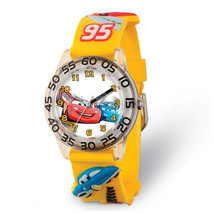 Disney Kids Cars Yellow Strap Acrylic Time Teacher Watch - $29.00