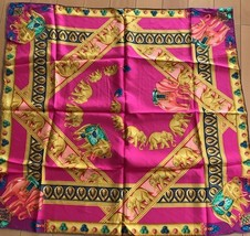 CARTIER Scarf Stole Jewelry Gold Elephant Animal Charm Silk Pink Purple ... - ₹12,699.33 INR