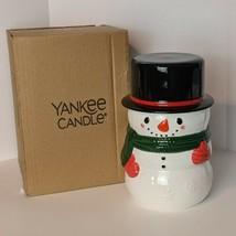 Yankee Candle SNOWMAN Jar Candle Holder Medium / Large COOKIE JAR  RETIRED - $24.74