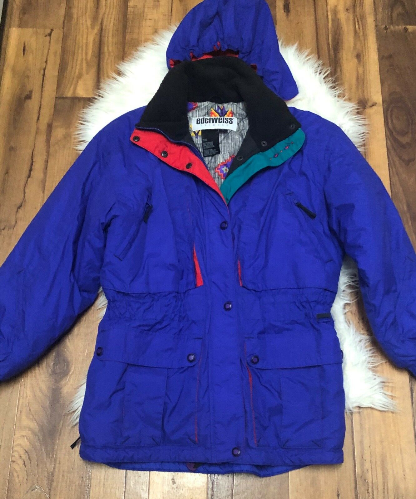 Edelweiss ski jacket VTG Ski Snowboarding Jacket Purple with hood 80 90s Mens L