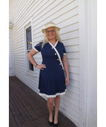 60s Mod Blue Dress Pleated 1960s Casual Vintage Short Sleeve Wilshire L - $55.00