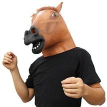 CreepyParty Novelty Halloween Costume Party Animal Head Mask Brown Horse - £14.60 GBP