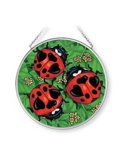 """Lady Love Bugs Sun Catcher AMIA 4.5"""" Round Ladybugs Hand Painted Glass New  - €18,93 EUR"""