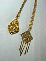 TWO  Gold Tone  Vintage Pendant Necklaces Unmarked - $5.93