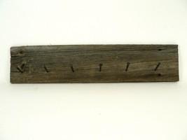 VTG/Antique Reclaimed Brown Barn Wood Rustic Coat Rack Black Nails Weathered - $75.00