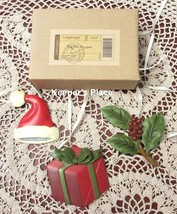 3 Longaberger Basket Tie On Christmas Holiday Santa Hat Holly Gift New T... - $19.00
