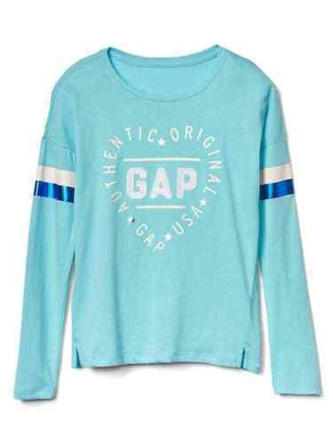 Primary image for Gap Kids Girls T-shirt 4 5 Long Sleeve Heart Graphic Aqua Blue Crew Neck New