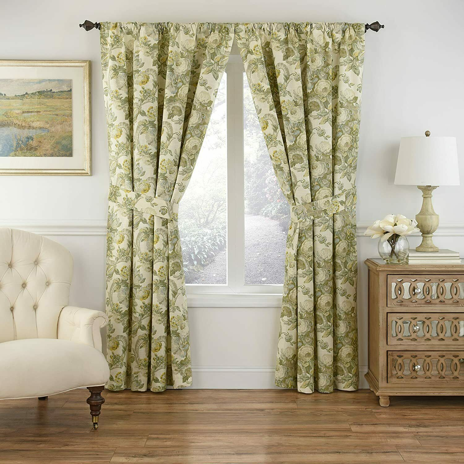 Primary image for Waverly Spring Bling Platinum Curtain Panel w Tieback 100% Cotton Floral 52x63