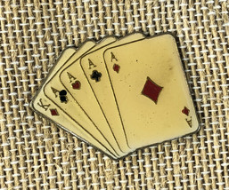 """Enamel Vintage Pin  Four Of A King Playing Cards 1""""x1.25"""" Ace - $7.84"""