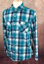 American Eagle Outfitters Seriously Soft Long Sleeve Blue Plaid Shirt Men's L - $15.83