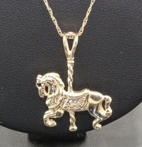 14k Yellow Gold Detail Carousel Horse Pendant Chain Emerald Sapphire Eye... - $267.30