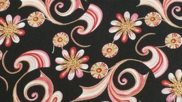 Sweet Flowers Metallic Mini Abstract Floral  100% cotton fabric by the yard - $6.32