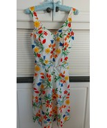 Teen / Youth Summer Sun Dress, Cheerful Flowers, Bust 36 in, 50/50 cotto... - $25.00
