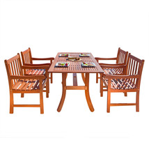 Malibu Eco-Friendly 5-Piece Wood Outdoor Dining Set V189SET5 - $684.56