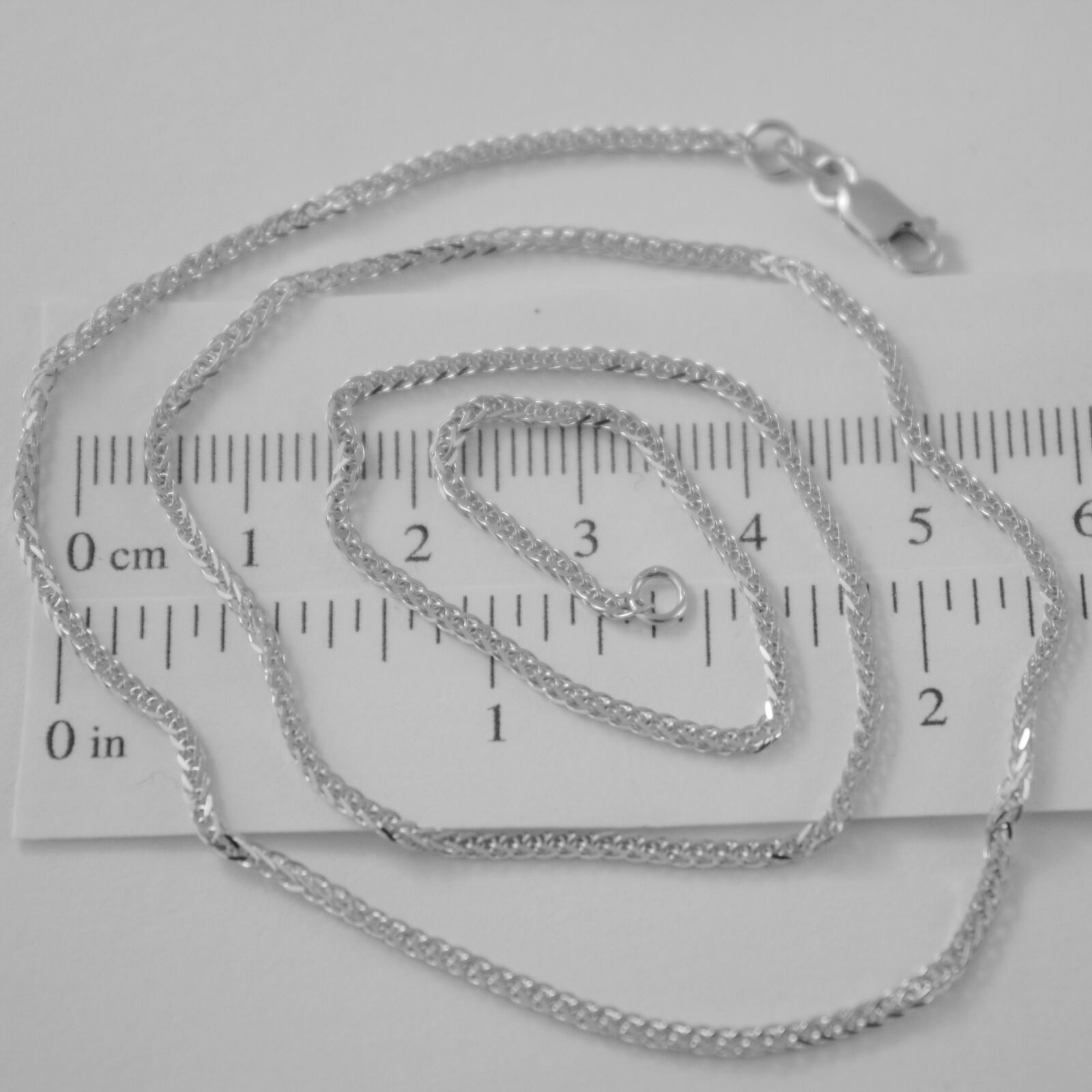 SOLID 18K WHITE GOLD CHAIN NECKLACE 2MM EAR SQUARE LINK 23.62 IN, MADE IN ITALY