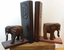 "Vintage Hand Carved Wood Elephant Book Ends 8 x 5'5 x 3"" - $32.00"