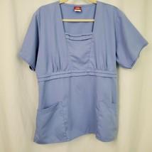 Pre Owned Dickies Women's L Blue Short Sleeve Empire Waist Scrub Top Pockets - $19.35