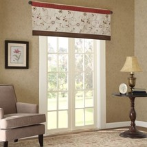 Luxury Spice Beige & Brown Embroidered Floral Window Valance - Rod Pocket - $37.99
