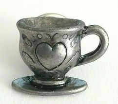 Vintage Collectible Lapel Pin - Small Pewter Silver Tone Coffee Tea Cup ... - $7.80