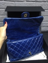 AUTHENTIC CHANEL BLUE QUILTED GLAZED CALFSKIN 2 WAY HANDLE FLAP BAG GHW image 7