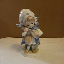 Enesco Japan Blue White Girl Strumming Instrument Figurine - $34.99