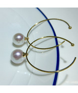 Akoya pearl large hoop earrings with 18k gold fashionable design women party - $259.80