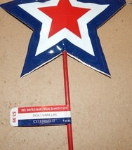 "Stars 4th Of July Red White & Blue Decor Stems Picks Soft 3ea 16""x 6 1/2... - $9.49"