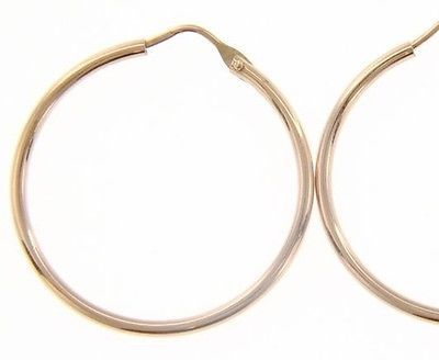 18K ROSE GOLD ROUND CIRCLE EARRINGS DIAMETER 25 MM WIDTH 1.7 MM, MADE IN ITALY