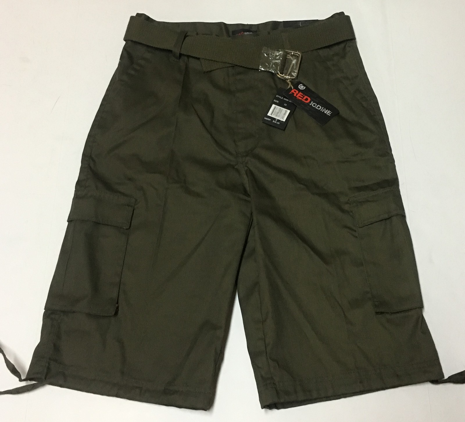 Red Iodine Cargo Board Shorts Army Green Sz 32 Belted NWT
