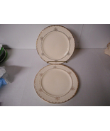 "2 Crooksville 10"" Dinner Plates CR09 Cream with Gold Flower Decoration 1... - $39.00"