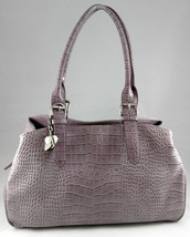 Vintage Nine West Vegan Patent Leather Lilac Croc Alligator Design Handbag Purse - $39.95