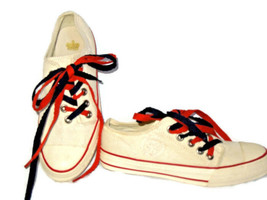 Juicy Couture tie side Beige canvas athletic tennis Shoes 6 1/2  / 6.5 - $55.79